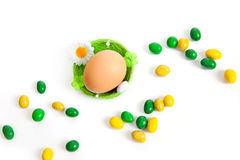 Easter egg in toy nest Stock Photo