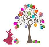 Easter Egg Tree and Bunny Royalty Free Stock Image