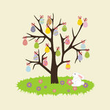 Easter Egg Tree. Rabbit, bunny, flower on the yellow background. Vector illustration Stock Photography