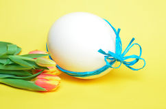 Easter egg with tulips Stock Photo