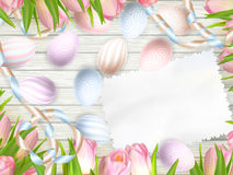 Easter egg, tulips and empty vintage card. EPS 10 Royalty Free Stock Images