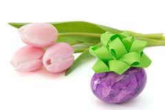 Easter egg with tulips Royalty Free Stock Image