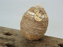 Easter egg with twine. Easter eggs decorated with twine Royalty Free Stock Image
