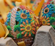 Easter egg unique hole flower glitter. Art handpainted handmade traditional spring celebration holiday Royalty Free Stock Photos