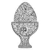 Easter egg vector, Easter egg zen tangle and zen doodle. Easter egg coloring. Black and white. Stock Photo