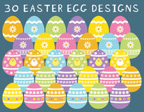 Easter Egg Vectors, set of 30 designs isolated on background Stock Photos