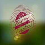 Easter egg vintage label. vector illustration. Easter egg vintage label. calligraphy on blurred field background. vector illustration Stock Images