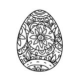 Floral easter egg. Easter egg on white background.Coloring page for children and adult. Vector illustration Stock Images