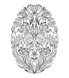 Easter egg on white background. Floral easter egg on white background.Coloring page for children and adult. Vector illustration Royalty Free Stock Photo
