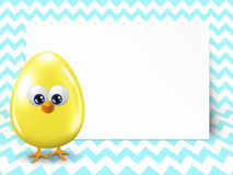 Easter egg and white blank over chevron background Stock Photo