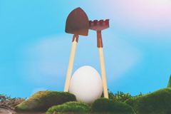 Easter egg white color with shovel and rake on moss. Funny easter egg easter egg white color as farmer with shovel and rake on wooden stick on tree bark and Royalty Free Stock Photos