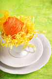 Easter egg in white cup Royalty Free Stock Photography