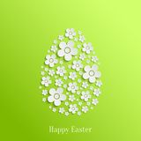 Easter Egg of White Flowers. Abstract Vector Easter Egg of White Flowers on Green Background. Valentines day card Royalty Free Stock Photos