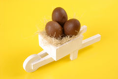 Easter egg white pushcart Stock Photography