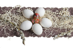 Easter egg and willow branch Royalty Free Stock Images