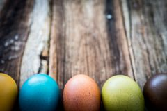 Easter egg on wood royalty free stock photos