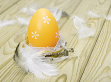 Easter egg on wooden background Royalty Free Stock Photo