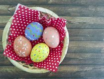 Easter egg wooden decoration, yellow, food. Easter egg wooden basket decoration  food Royalty Free Stock Photography