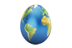 Easter egg with world map, 3D rendering Royalty Free Stock Photo
