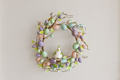 Easter Egg Wreath. Colourful eggs decorated around a wrath make a nice easter decoration royalty free stock images