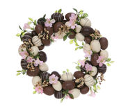 Easter Egg Wreath. A chocolate easter egg wreath isolated over white Royalty Free Stock Photos