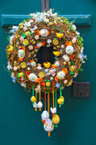 Easter egg wreath. Colorful easter egg decorative wreath on door stock photography