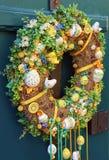Easter egg wreath. On a door royalty free stock photos