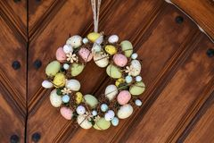 Easter egg wreath. Hangs on the door stock images