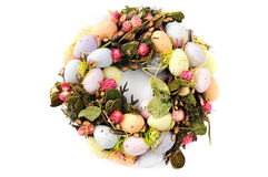Easter egg wreath on isolated background.  stock image