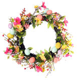Easter egg wreath. Studio isolated on white royalty free stock image