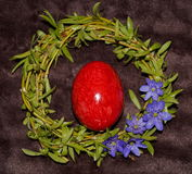 Easter egg and wreath. From willow royalty free stock photography