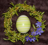 Easter egg and wreath. From willow royalty free stock image