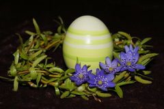 Easter egg and wreath. From willow stock image