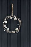 Easter egg wreath. On a wooden background royalty free stock image