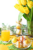 Easter egg and yellow tulip on table Stock Image