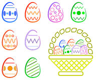 Easter Eggas and Basket Royalty Free Stock Photo