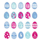 Easter Egge Selection. Large variety off colorful eggs. All elements on separate layers, easily edited Royalty Free Stock Images