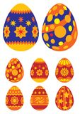 Easter eggs 01. Collection of Easter painted eggs isolated on white background Stock Images