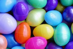 Background of colorful plastic easter eggs. Background pattern of colorful plastic easter eggs Royalty Free Stock Images