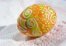 Easter eggs. Painted Easter eggs on embroidered napkin Royalty Free Stock Photography