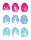 Easter Eggs. 9 more detailed eggs. All elements on separate layers, easily edited Stock Photo