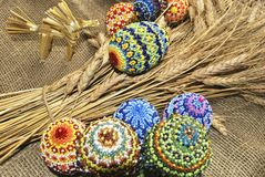 Easter eggs. From beads and dry ear Royalty Free Stock Images