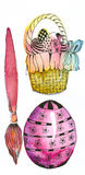 Easter Eggs. Watercolor painting and ink drawing, created and painted by the photographer royalty free illustration