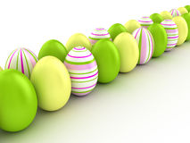 Easter eggs. Easter eggs abreast on a white background. 3D illustration Royalty Free Stock Photo