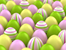 Easter eggs. A lot of easter eggs. 3d illustration with DOFF. Focus in the center of the image Royalty Free Stock Photos