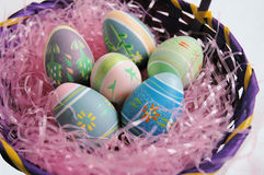 Easter eggs. In a basket Stock Image