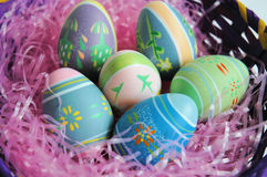 Easter eggs. In a basket Stock Images