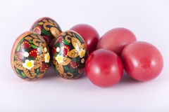 Easter Eggs. Red and painted Royalty Free Stock Photo