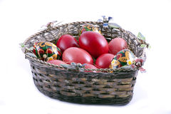 Easter Eggs. In basket, isolated on white background Royalty Free Stock Photography