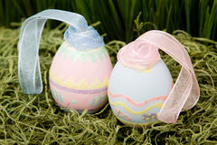 Easter eggs. Decorative easter eggs on grass Stock Image